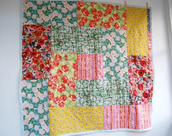 Handmade Square Baby or Lap Quilt Throw Blanket - 100% Cotton Fabric - Garden Botanical Floral Theme