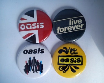 "4 x Oasis 1"" Pin Button Badges ( live forever definitely maybe be here now uk )"