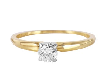 14KT Yellow Gold 0.25ctw Diamond Solitaire Ring, 1.5gm. Size: 5.5 -252