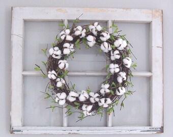 Cotton Wreath, Cotton Boll Wreath, Farmhouse Decor, Spring Wreath, Front Door Wreath,  2nd Anniversary Gift, Wedding Decor, Summer Wreath