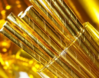Gold Foil Paper Party Straws