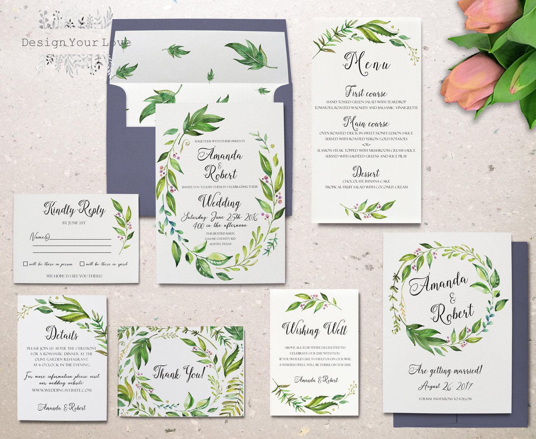 Print Out Wedding Invitations: Green Wedding Invitation Set Printable Wedding Invitation
