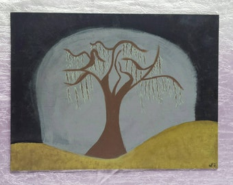 Weeping willow painting, hand painted willow, willow tree painting, creepy painting, creepy art, tree painting, Weeping Willow decor