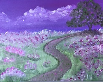 "Purple Path - wall decor acrylic painting 12""x16"" canvas stretched/wrapped on 5/8"" bars"