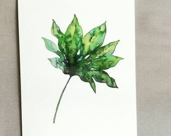 WATERCOLOR SMALL PRINT Exotic Palm Leaf Art print of my watercolor painting // green home decor //  Size: 13x17 cm // watercolor palm leaves