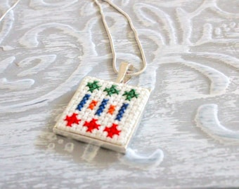 Necklace Cross Stitched, Embroidery Necklace, Handmade Jewelry
