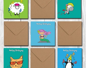 Kid's Birthday Card Set, Assorted Children Birthday Cards, Funny Cute Party Cards, Greetings Cards Pack, Wishes for Boys and Girls
