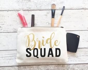 Wedding Personalised make up bag   Personalised gift   Bridesmaid gift    bride squad   Wash bag   Personalised glitter bag