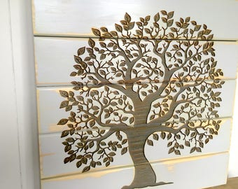 Tree of Life, Home Decor, Wooden Sign, Rustic Wall Decor, Shabby Chic Farmhouse Home Decor, Laser Engraved