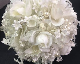 Ivory bridal bouquet, wedding bouquet, rose bouquet, organza bouquet, silk flowers, silk bouquet, bridesmaid bouquet, wedding flowers