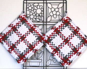 "GK's Kitchen - One Pair 8"" x 8""  - Jumbo Red, Grey and White Potholders.   Item # GK's Kitchen - Winter 00403"