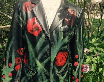 Leather jacket. Hand Painted ,