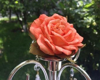 Orange barrette Floral barrette Rose barrette Orange rose Rose in hair Floral headpiece Hair flower clip Orange hair flower Hair accessories