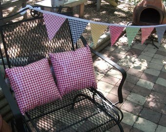 Vintage Oilcloth Pillows of Red and Blue Gingham Check