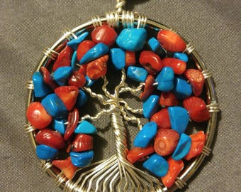 Blue Howlite & Red Coral Tree of Life