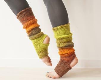 Yoga Slippers in Earth Colors, Non Slip Toeless Socks for Pilates, Piyo Socks, Leg Warmers, Pedicure Socks, Yoga Supplies, Yoga Gift