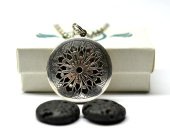 Celtic Lava Stone Locket Essential Oil Diffuser Necklace // Aromatherapy Necklace // - With Choice of Essential Oil