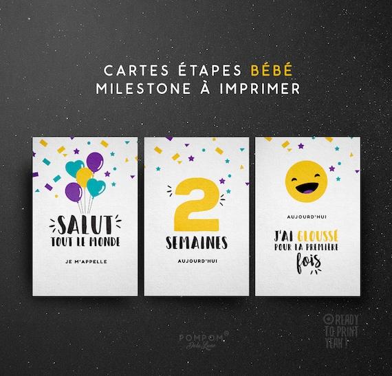 Cartes tapes b b imprimer en fran ais kit premi res fois - Carte etape bebe a imprimer ...