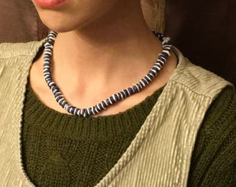 Blue bead and shell beaded necklace.