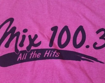 "Mix 100.3 ""All the Hits"" Radio Station Music T-shirt Kansas City Neon Pink Large"