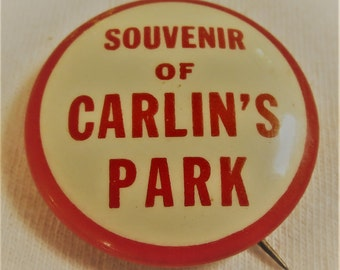 Vintage Souvenir Button from Carlin's Park in Baltimore, Maryland 1918-1950s