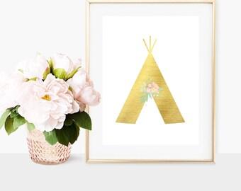 Gold Metallic Tribal Teepee Printable - Digital Print - Tribal Wall Art - Boho Printable Decorations - Tribal Nursery Decor - Nursery Print