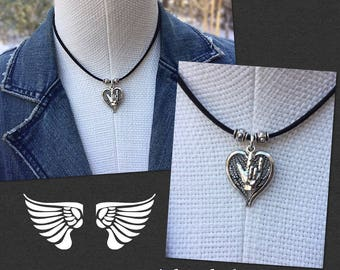 Angel Wings n ILY Pendant Necklace with Black Suede Leather Cord (any color) and Silver Embossed Beads