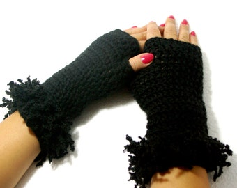 "50% OFF Crochet Gloves: ""BLACK GLOVES"" Fingerless Black mittens, Hand Warmers Hand Knit Mittens, Ladies Winter Mittens Winter accessory A125"