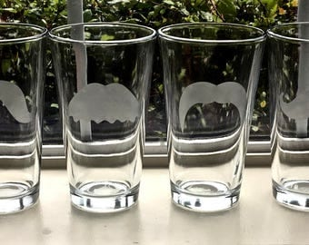 Mustache Pint Glasses 16oz