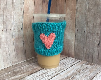Knit Coffee Cozy, Crochet Cup Sleeve, Iced Coffee Holder, Wool Anniversary Gifts for Women, Coffee Cozie, Coffee Cup Wrap, Coffee Cup Sleeve