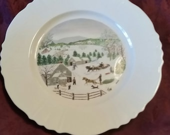 """Grandma Moses Collector Plate """"Out for the Christmas Tree"""" Ltd First Ed. Atlas"""