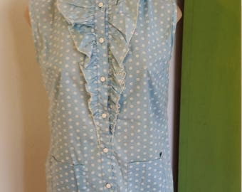 60s Light Blue Sleeveless Ruffle Top. Button up. Tunic. White Flowers. Flower Buttons. Pockets.  Size Small Medium