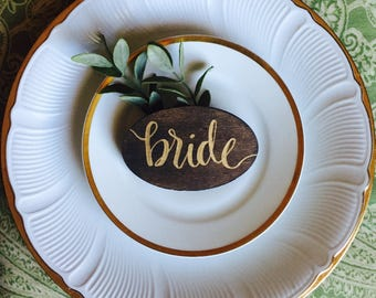 Wooden place cards, hand lettered place cards, wedding, place setting, customized