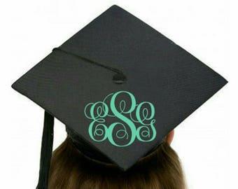 Monogram decal for graduation cap