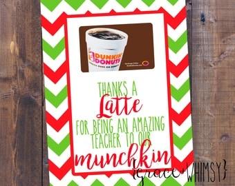 Dunkin Donuts teacher gift card holder