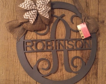 Metal Door Hanger, Front Door wreath, Metal Sign, Anniversary Gift, Monogram Door Sign, Wedding Guest Book, Personalized Gift, Entry