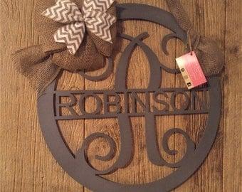 Door Hanger, Front Door wreath, Porch Sign, Metal Sign, Anniversary Gift, Monogram Door Sign, Wedding Guest Book, Personalized Gift, Entry