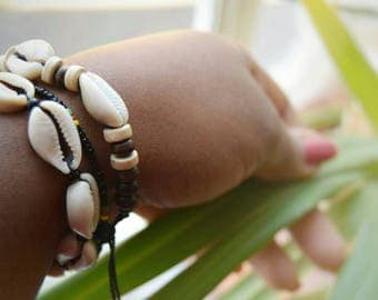 Tribal Cowry Shell Bracelets | unisex ethnic jewelry | leather, cowrie shells, wooden & seed beads, rope | handmade in Cameroon, Africa