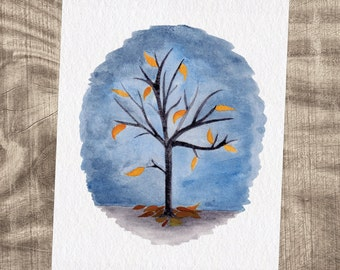 Autumn Leaves Falling Watercolor Tree Print - FREE SHIPPING