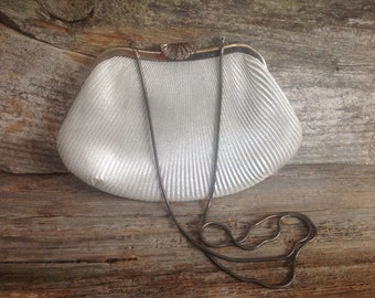 Du-Val Vintage Silver Scalloped Bag with detailed Clasp closure party/wedding/bridal/prom/special occasion