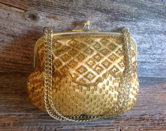 Vintage Gold Beaded Elegant Evening Bag bride/wedding/prom/special occasion/purse/evening bag