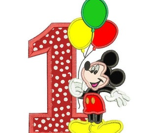 Mickey Mouse 1st birthday Holding a Balloons Applique Design 3 sizes instant download