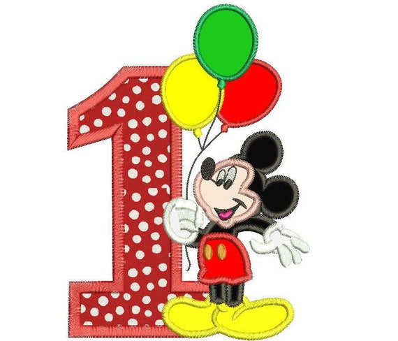 Mickey Mouse First Birthday Embroidery Designs