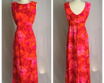 1960's Shaheen Hawaiian Bright Red, Orange, Pink and Fuchsia Psychedelic Print Sheath Watteau Train Tiki Oasis VLV