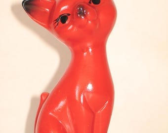 Vintage glazed ceramic cat from the 1970s