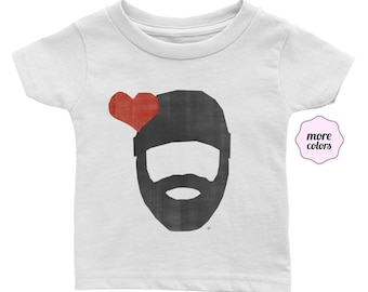 Bearded Lumberjack Love Infant / Baby Short-Sleeve Shirt | Beard Love Baby T-Shirt | Bearded Love Infant Tee | I Heart Beards Lumberjacks