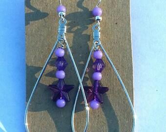 Purple Star Teardrop Earrings