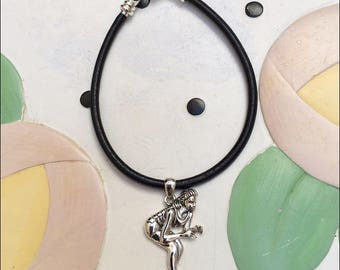 In Her Stance Black Leather Cord Charm Bracelet