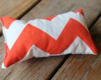 Orange chevron catnip pillow