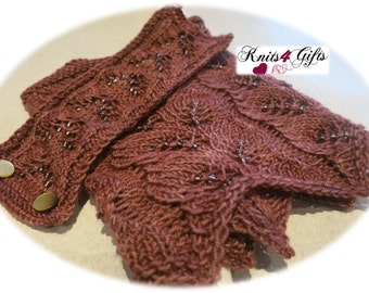 Autumn Leaves Memories - hand knitted lace cowl and bracelet brown tonals soft airy lightweight handmade